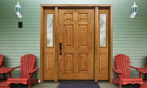 Oak door with trimilite mistlite glass
